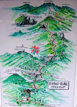 淀川登山口イラストマップ